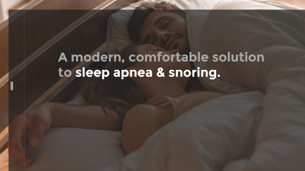 "Sleep apnea ebook, image of young couple sleeping side by side with ""A modern, comfortable solution to sleep apnea & snoring"""