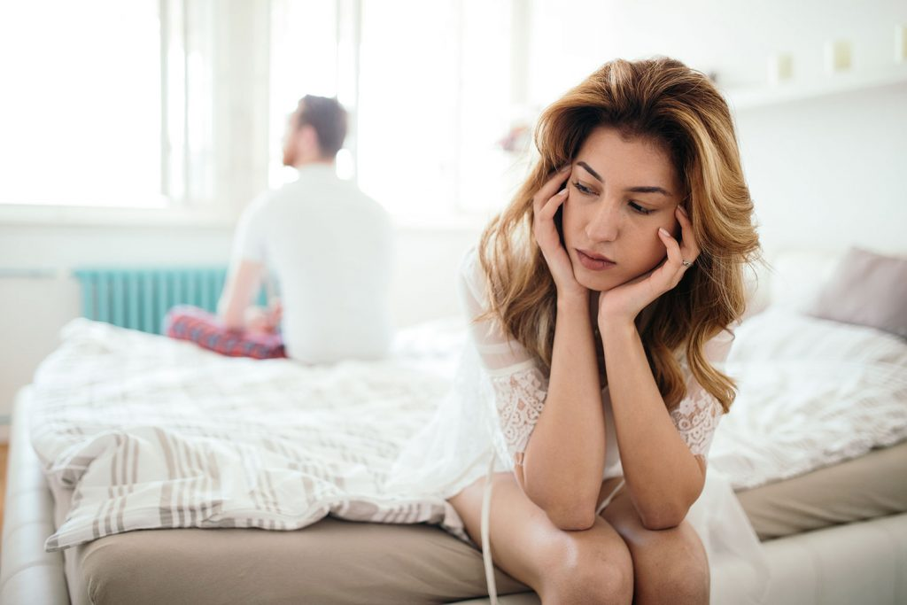 Worried wife thinks about husband's sleep apnea.